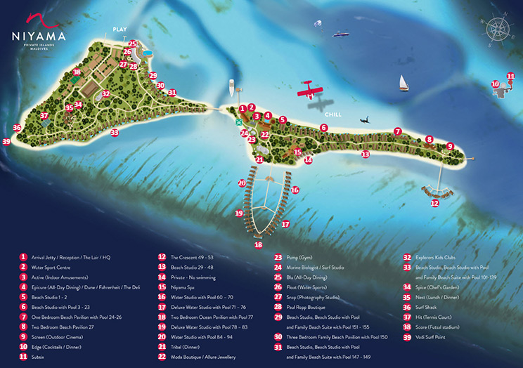 Niyama Private Islands Maldives, карта, план, map