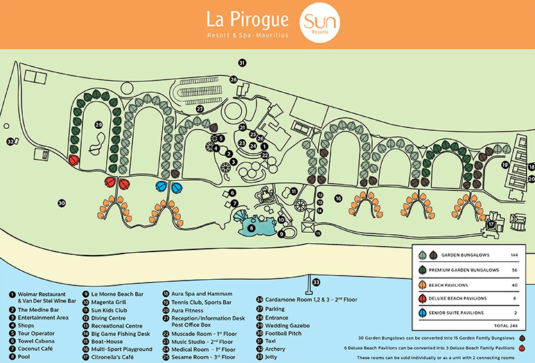 La Pirogue Resort & Spa, план, карта, map