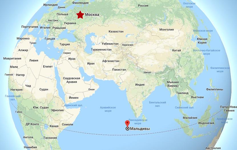 Расположение Мальдивских островов на карте