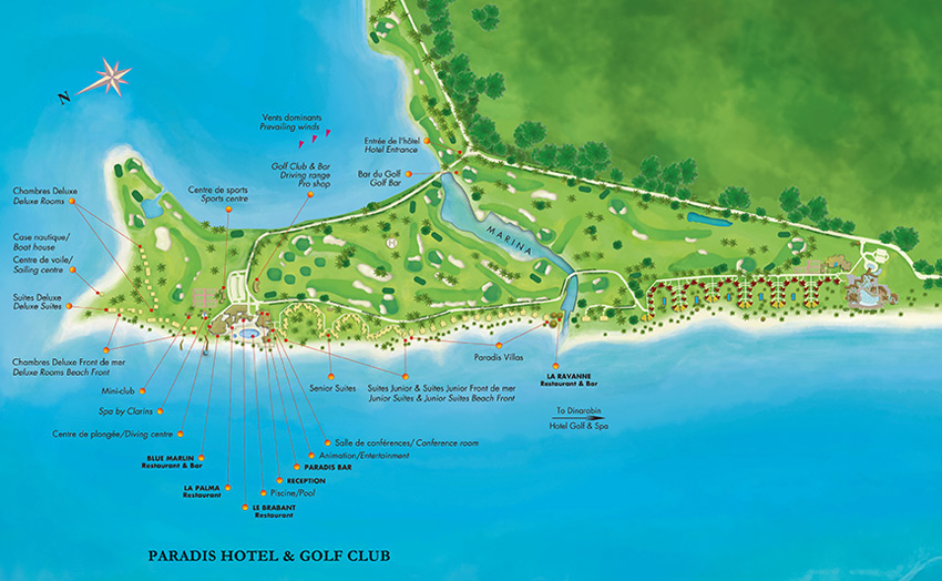 План отеля Beachcomber Paradis Hotel & Golf Club