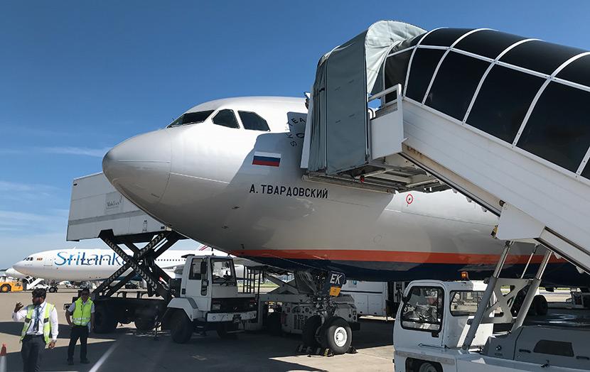 Самолет Аэрофлота в аэропорту Мальдивских островов