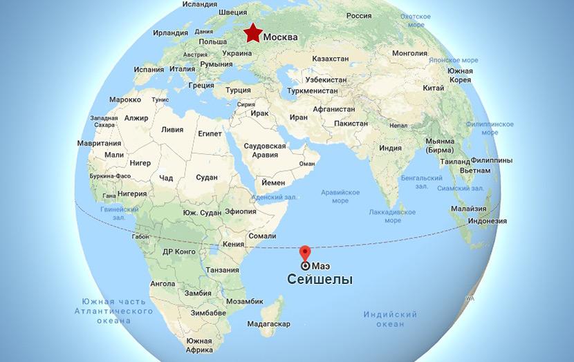 Расположение Сейшельских островов на карте
